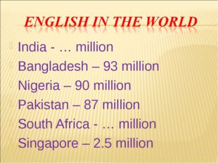 India - … million Bangladesh – 93 million Nigeria – 90 million Pakistan – 87