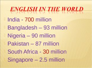 India - 700 million Bangladesh – 93 million Nigeria – 90 million Pakistan – 8
