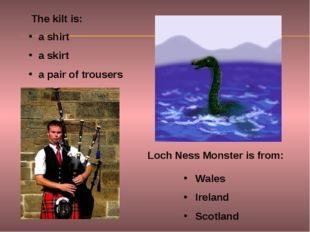 The kilt is: Loch Ness Monster is from: a shirt a skirt a pair of trousers Wa