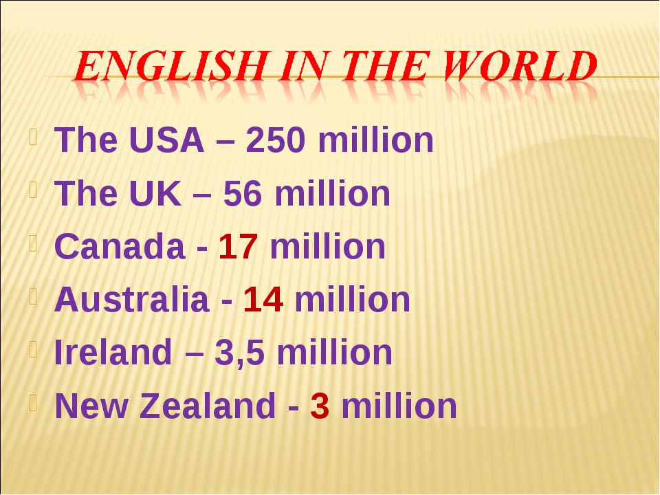 The USA – 250 million The UK – 56 million Canada - 17 million Australia - 14...