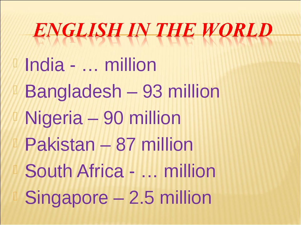 India - … million Bangladesh – 93 million Nigeria – 90 million Pakistan – 87...