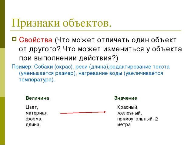 Признаки объектов. Свойства (Что может отличать один объект от другого? Что м...