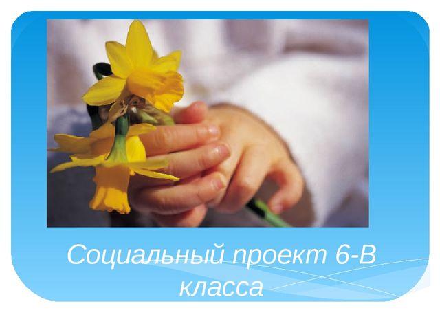 Социальный проект 6-В класса «Красота и доброта своими руками» КЛ. РУКОВОДИТ...