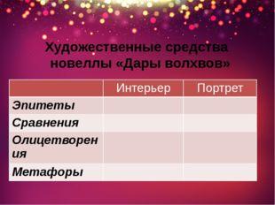 Художественные средства новеллы «Дары волхвов» Интерьер Портрет Эпитеты Сравн