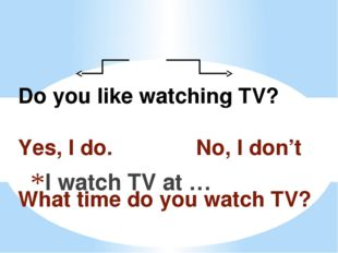 Do you like watching TV? Yes, I do. No, I don't What time do you watch TV? I