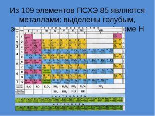 Из 109 элементов ПСХЭ 85 являются металлами: выделены голубым, зелёным и розо