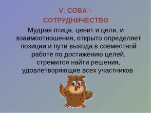 V. СОВА – СОТРУДНИЧЕСТВО Мудрая птица, ценит и цели, и взаимоотношения, откры