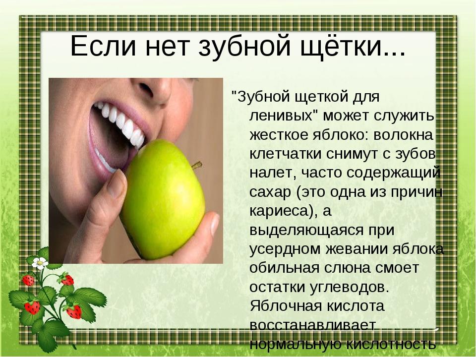 """Если нет зубной щётки... """"Зубной щеткой для ленивых"""" может служить жесткое яб..."""