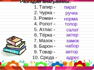 Разгадай анаграммы: 1. Тапир - 2. Чурка - 3. Роман - 4. Ропот - 5. Атлас - 6.