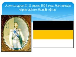 Александром II 11 июня 1858 года был введён чёрно-жёлто-белый «флаг