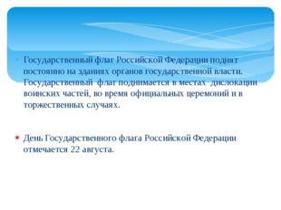 Государственный флаг Российской Федерации поднят постоянно на зданиях органов
