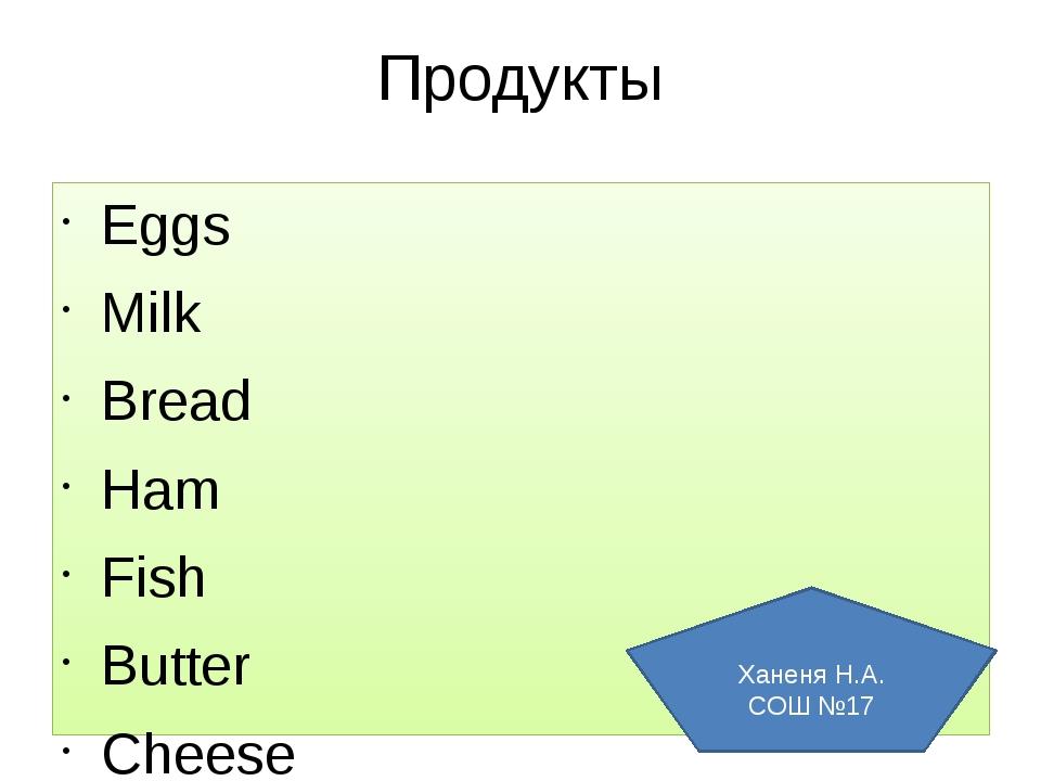 Продукты Eggs Milk Bread Ham Fish Butter Cheese Cake Sweets Ханеня Н.А. СОШ №17