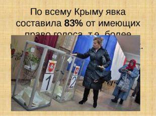 По всему Крыму явка составила 83% от имеющих право голоса, т.е. более полутор