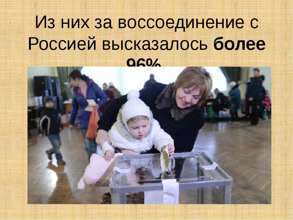 Из них за воссоединение с Россией высказалось более 96%.