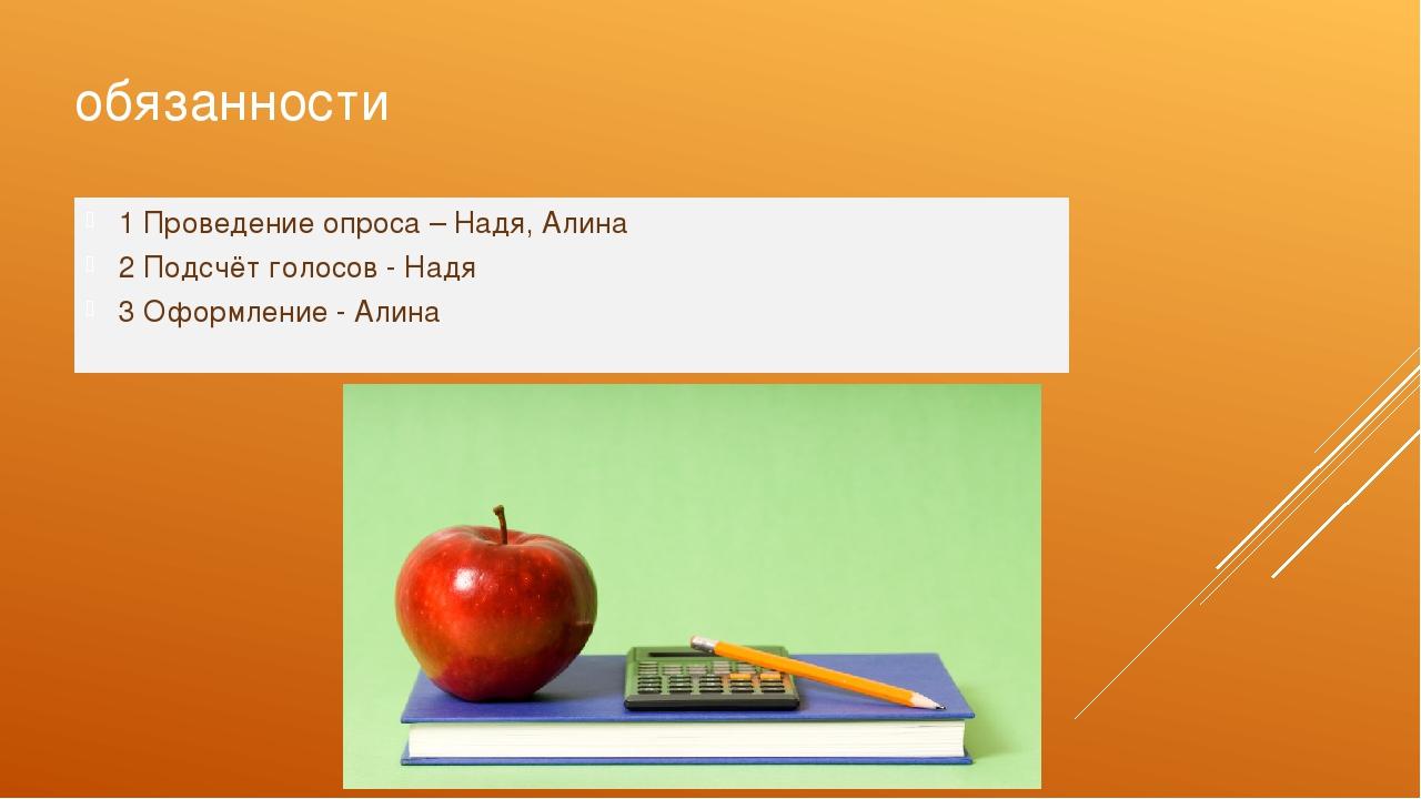 обязанности 1 Проведение опроса – Надя, Алина 2 Подсчёт голосов - Надя 3 Офор...