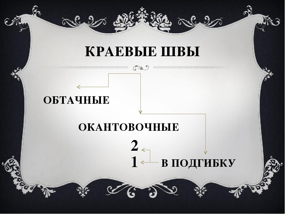 КРАЕВЫЕ ШВЫ ОБТАЧНЫЕ ОКАНТОВОЧНЫЕ В ПОДГИБКУ 1 2