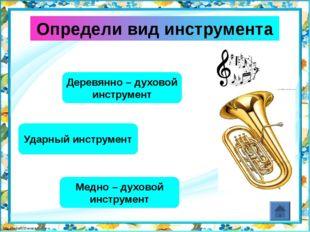 Определи вид инструмента Деревянно – духовой инструмент Струнно – щипковый ин