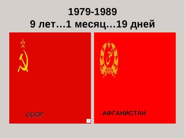1979-1989 9 лет…1 месяц…19 дней СССР АФГАНИСТАН