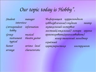 "Our topic today is Hobby"". Student 	manager 		interview Correspondent	informa"