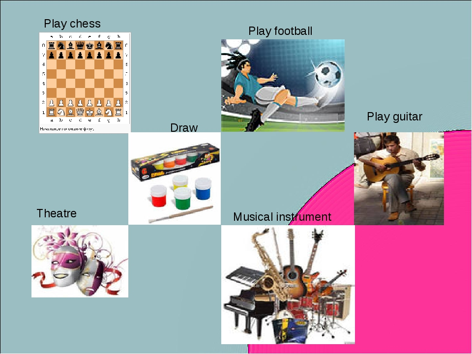 Play chess Play football Draw Play guitar Theatre Musical instrument