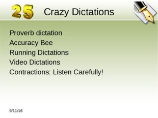 Crazy Dictations Proverb dictation Accuracy Bee Running Dictations Video Dict