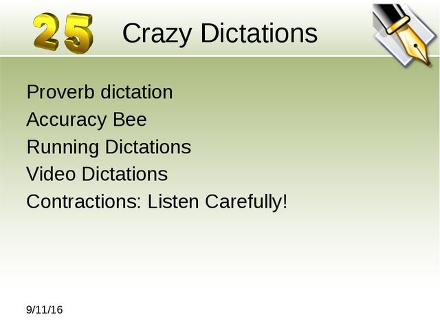Crazy Dictations Proverb dictation Accuracy Bee Running Dictations Video Dict...
