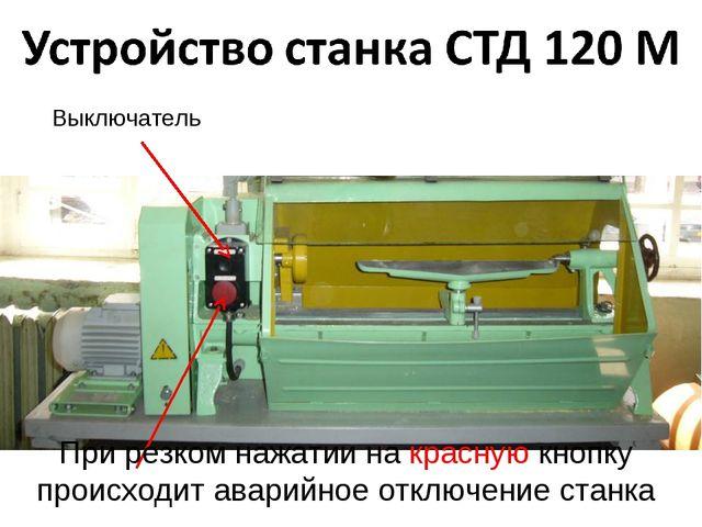 Выключатель При резком нажатии на красную кнопку происходит аварийное отключе...