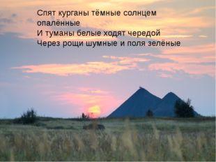 Спят курганы тёмные солнцем опалённые И туманы белые ходят чередой Через рощ
