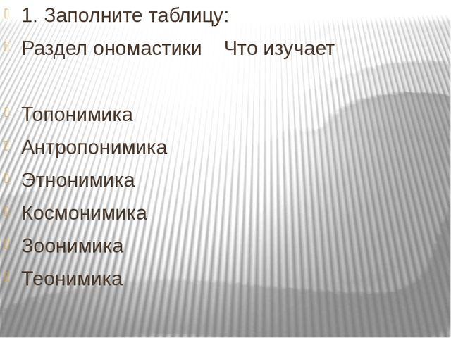 1.Заполните таблицу: Раздел ономастикиЧто изучает Топонимика Антропонимика...