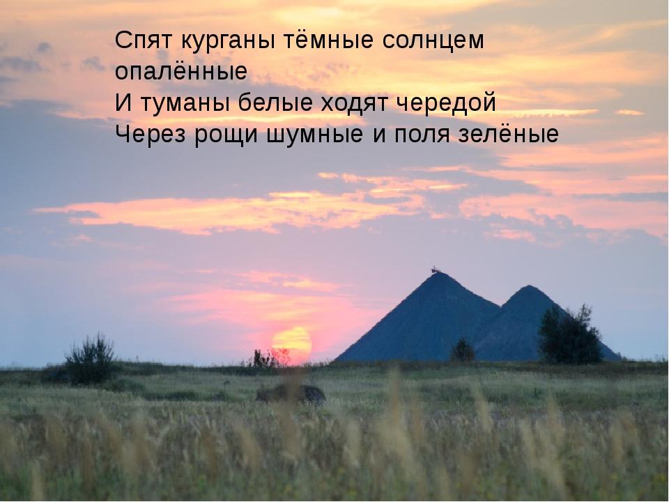 Спят курганы тёмные солнцем опалённые И туманы белые ходят чередой Через рощ...