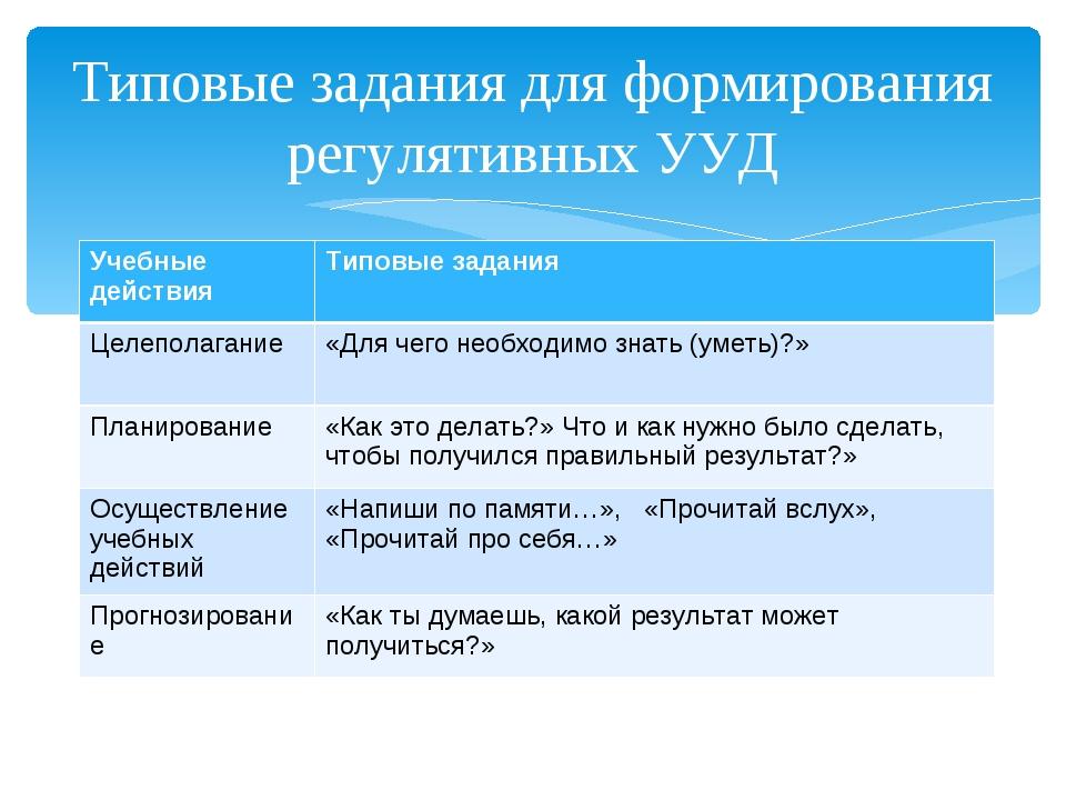 Типовые задания для формирования регулятивных УУД Учебные действияТиповые за...