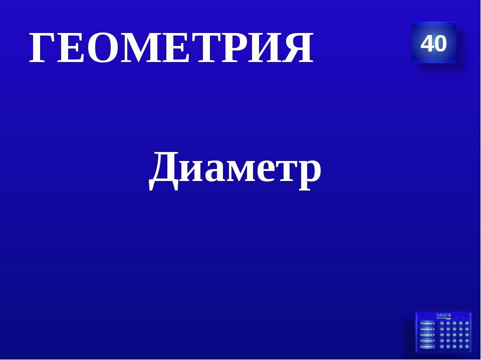 Диаметр ГЕОМЕТРИЯ