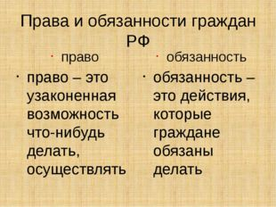 Права и обязанности граждан РФ право право – это узаконенная возможность что-
