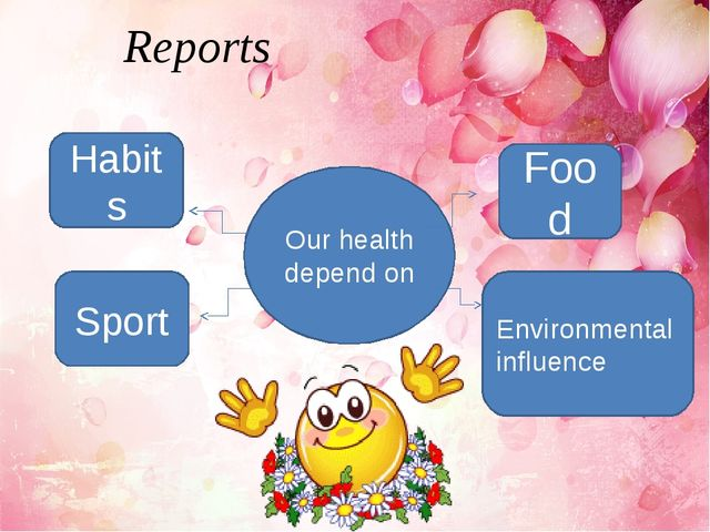 Reports Habits Sport Environmental influence Food Our health depend on