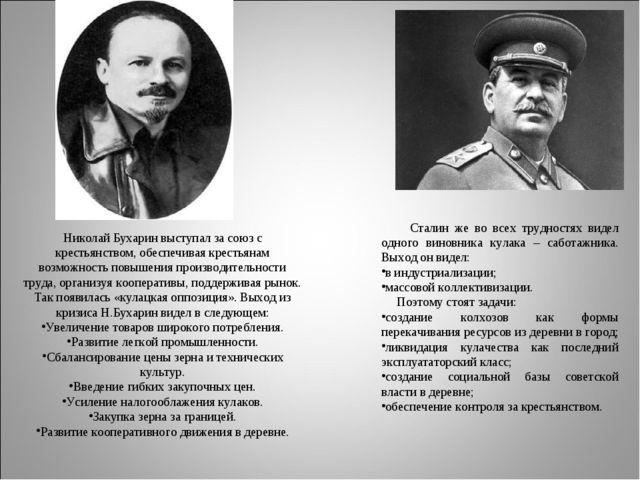 Николай Бухарин выступал за союз с крестьянством, обеспечивая крестьянам возм...