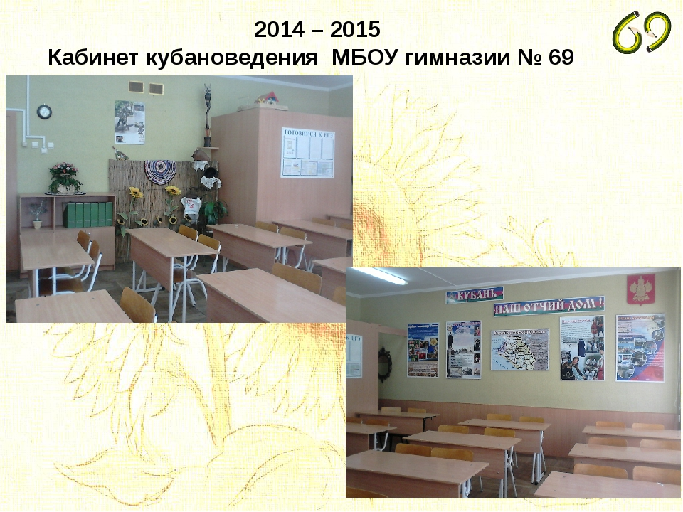 2014 – 2015 Кабинет кубановедения МБОУ гимназии № 69