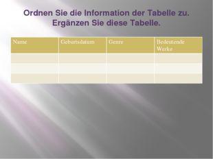 Ordnen Sie die Information der Tabelle zu. Ergänzen Sie diese Tabelle. Name G