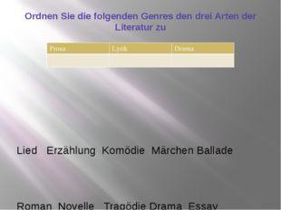 Ordnen Sie die folgenden Genres den drei Arten der Literatur zu Lied Erzählun