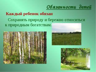 Сохранять природу и бережно относиться к природным богатствам. Обязанности де