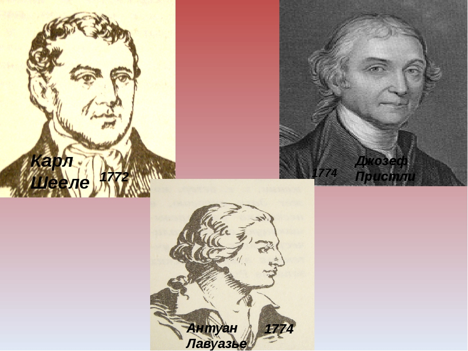 Карл Шееле Антуан Лавуазье Джозеф Пристли 1774 1772 1774