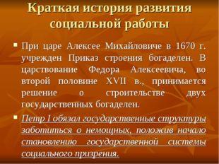 Краткая история развития социальной работы При царе Алексее Михайловиче в 167