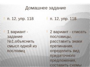 Домашнее задание п. 12, упр. 118 1 вариант - задание №1,объяснить смысл одной