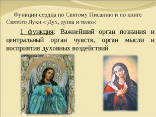 Функции сердца по Святому Писанию и по книге Святого Луки « Дух, душа и тело