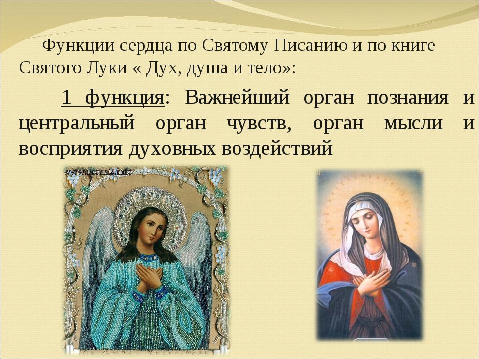 Функции сердца по Святому Писанию и по книге Святого Луки « Дух, душа и тело...