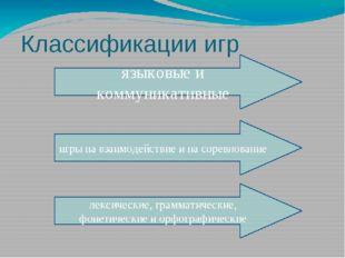 Классификации игр языковые и коммуникативные игры на взаимодействие и на соре