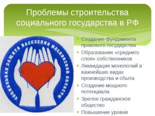 Проблемы строительства социального государства в РФ Создание фундамента право