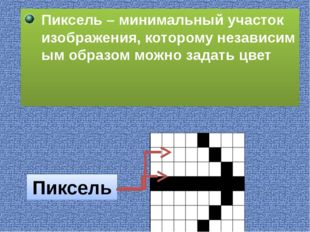 Пиксель – минимальный участок изображения, которому независимым образом можн
