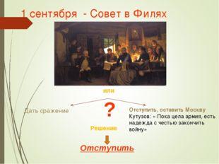 1 сентября - Совет в Филях или Дать сражение Отступить, оставить Москву Кутуз
