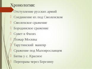 Хронология: Отступление русских армий Соединение их под Смоленском Смоленское