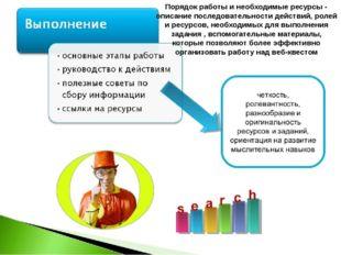 Порядок работы и необходимые ресурсы - описание последовательности действий,